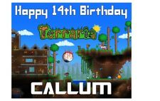 "PERSONALISED TERRARIA A4 Icing Sheet 10""x 8"" cake topper ANY NAME AGE GREETING"