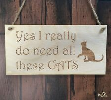 Cats Funny Wooden Plaque Sign Laser Engraved pq28