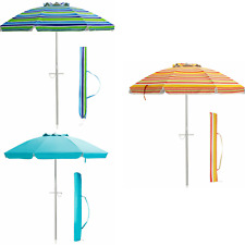 Beach Umbrella 6.5FT Tilt Outdoor Canopy Sunshade Patio Carry Bag Anchor In Sand