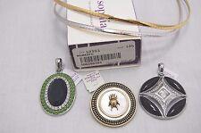 """Lia Sophia TRISH 17"""" Reversible SILVER/GOLD Omega Necklace 3 slide pendant Lot"""