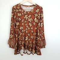 LOGO by Lori Goldstein Womens Floral Printed Knit Top with Chiffon Ruffle Size S