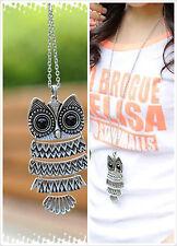 New Bronze Brown&Silver Color Owl Pendant Fashion Cute Necklace Big Size