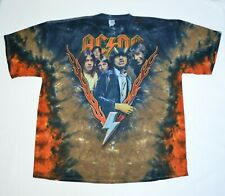 AC/DC Highway to Hell Album Cover Tie Dye Fire Flames Shirt Mens Size XXL AC DC