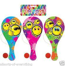 6 X sonriente emoji nadie excepto Biff Paddle murciélagos de madera Loot Bolsa Fiesta Rellenos Niños Bat & Ball
