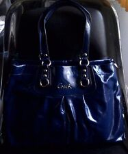 AUTH COACH ASHLEY PATENT LEATHER CARRYALL BAG PURSE F15516 COBALT BLUE $398-RARE