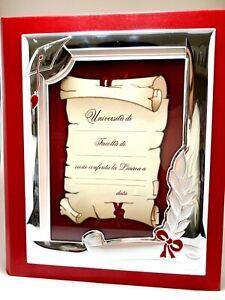 ALBUM CORNICE LAUREA VALENTI ARGENTO LAMINATO(PVD)(MIRO-SILVER)13X18