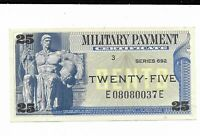 25 Cents Series 692 Military Payment Certificate MPC Note Currency CH CU #37E