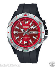 MTD-1082-4A Red Casio Men's Watches Resin Band 100m Day Date New Model Light