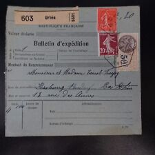 COLIS (PACCHI) POSTALI NEWSLETTER D'SPEDIZIONE ALSACE LORRAINE URBES CAD 1926