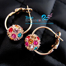 9ct 9k gold GF solid hoop ball wedding earrings made with swarovski #BO31