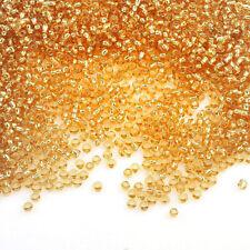 Rocailles Perlen 2mm Glas Gold Silbereinzug 450g Schmuck Basteln Seed Beads A12