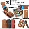 Multi Genuine PU Leather Wallet 14 Card Slot Purse Case Removable Magnetic Cover