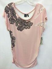 Women's Cruel Girl Light Pink Blouse w/Ivory Lace, Style CTK9571001