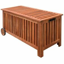 Wooden Outdoor Garden Storage Cushion Box Utility Chest Shed with Handle Wheels