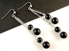 Black Agate Gemstone Platinum Plated Dangle Earrings & Rhinestones Beads  #1898