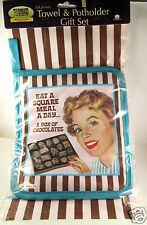 Fiddlers Elbow Cotton Towel Kitchen Potholder Set Box of Chocolates Sq Meal New