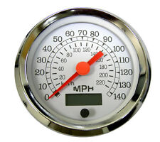 "Speedometer, programmable, 3-3/8""/86mm,140 MPH,LED light,white/chrome,043-SP-WC"