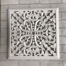 Indian Chic Decorative Carved White Wood Wall Panel