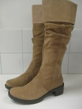 Ladies CLARKS tan suede MOODY BLUES knee high BOOTS UK 5.5 D cowboy biker slouch