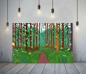 DAVID HOCKNEY 5-  FRAMED CANVAS ARTIST WALL ART PAPER PICTURE PRINT- FOREST