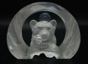 """William Schim Schimmel """"Wishing on the Moon"""" Tiger Acrylic Sculpture Signed #'d"""