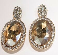 Pierced Earrings Bling Yellow Crystal Gold Elegant Wedding Formal Prom Pageant