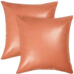 "18"" x 18"" Square Throw Pillow Case Cover Sofa Couch Cushion Cove Orange 2pcs"