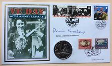 2005 VE Day FDC Signed by DENNIS HEALEY 2005 BVI $1 Montgomery & Eisenhower Coin