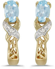 14k Yellow Gold Oval Aquamarine And Diamond Earrings (CM-E2584X-03)