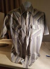 Rock Creek Ranch Blue Tan Blk Wt Striped Short Sleeve Pearl Snap Front Size XL