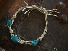 bracelet tan cotton string beach jewelry turquoise nugget macrame tie anklet or