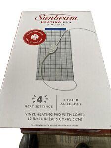 "Sunbeam Heating Pad King Size XL 12x24"" 3 Heat Settings Moist Heat Option Blue"