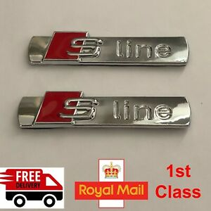 2 x AUDI S-LINE WING Metal Chrome Silver Emblem Badge For A1 S1 A3 S3 RS