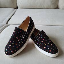 Christian Louboutin Black Suede Crystal Embellished Pik Boat Sneakers 36.5