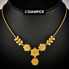 """18"""" 24K Thai Craft Jewelry Gold Plated Flower Pendant Chain Necklace Handmade"""