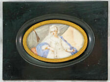 Lovely Old Miniature Portrait Painting Lady / Queen Scepter  Wood Frame Signed