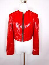 DOCKER'S Women Vtg Casual Boho Festival Wet Look Shiny Red Crop Jacket sz S BA90