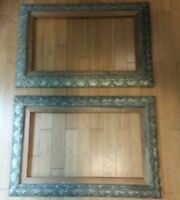 "SET OF 2 SUPERB 19th CENTURY WOOD GESSO SILVER ORNATE FRAMES  42 1/2"" X 28 1/2"""