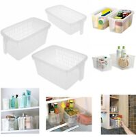 PLASTIC HANDY BASKET STORAGE TIDY ORGANISER PHARMACY HOME OFFICE FRIDGE BASKETS