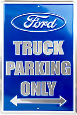 """Ford Truck Parking Only Blue/Silver 8"""" x 12"""" Metal Novelty Sign"""