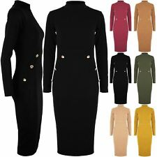 Womens Ladies Polo Turtle Neck Side Gold Buttons Long Sleeve Bodycon Midi Dress