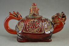 Rare Collectibles Old Handwork Amber Carving Dragon & The God Of Wealth Tea Pot
