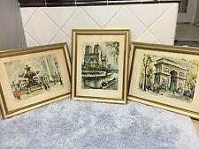 Marius Girard Signed Watercolor Concorde Notre Dame Arc De Triomphe Prints