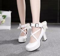 Women Bowknot Pumps Platform Lolita Cosplay Block Heels Buckle Cross Strap Shoes