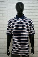 TOMMY HILFIGER Maglia Blu Polo Uomo a Righe Taglia 2XL Shirt Men's Herrenhemd