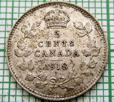 CANADA GEORGE V 1918 5 CENTS, SILVER HIGH GRADE