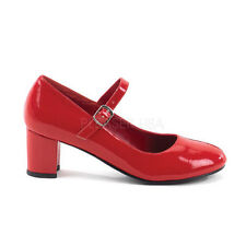 School Girl Plain Mary Jane PUMPS Square High HEELS Shoes Adult Women 9 Red Patent
