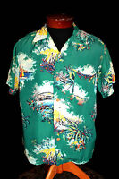 "RARE 1950'S ""MADE IN HAWAII"" LABELED RAYON KOBE CREPE HAWAIIAN SHIRT SIZE MEDIUM"