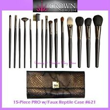 NEW Crown Brush 15-Piece PROFESSIONAL Brush Set w/Reptile Case FREE SHIPPING 621