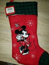 Disney Minnie Mouse Christmas Stocking Red Green Trimmed New with Tags!